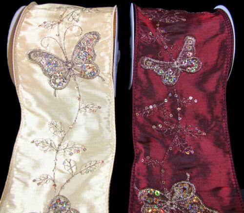 """Élégant de papillon Papillons Paillettes Wired Ribbon 4/"""" Wide pbty"""