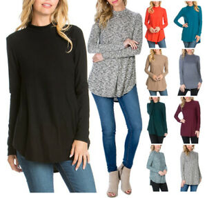 Women-Long-Sleeve-Mock-Neck-Tunic-Top-Sweater-Round-Hem-Hacci-Knit-S-M-L-XL-USA