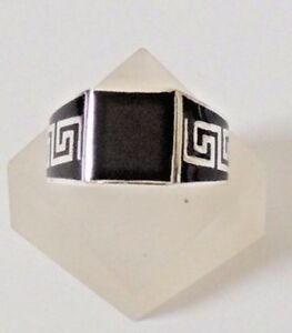 925-STERLING-SILVER-SQUARE-BLACK-ONYX-RING-size-Q-T-or-U-everyday-wear