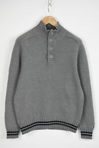 TOMMY-HILFIGER-Men-039-s-LARGE-Rigid-Knitted-Half-Zip-Pullover-Sweater-28221-JS