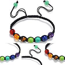1pc Chakra Perlen verstellbare geflochtene Seil heilende Türkis Armband Geschenk