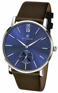 Accurist-Men-039-s-Blue-Easy-Read-Dial-Brown-Leather-Strap-Watch