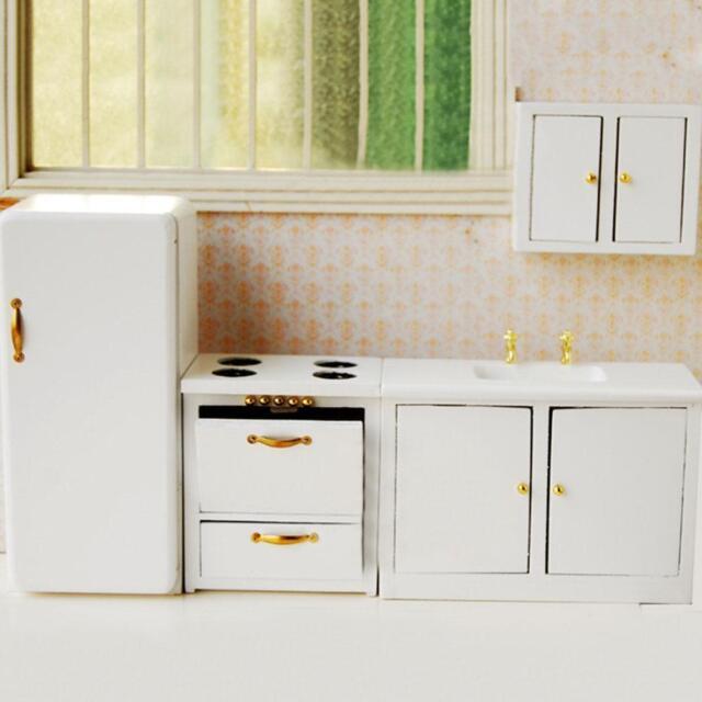1950s Kitchen Set  White T5017 dollhouse miniature 3pc 1//12 scale wood furniture