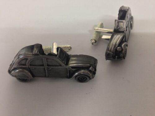 Citroen 2CV 3D cufflinks classic car pewter effect cufflinks ref37