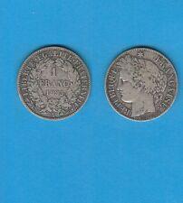 Gertbrolen 1 Franc Argent Type Cérès  Silver Coin  1895 Paris