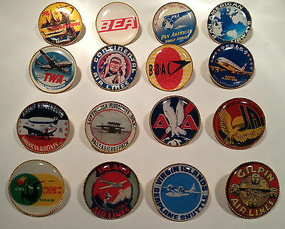 BOAC VINTAGE AIRLINE GOLD PLATED BADGES: 48 DESIGNS` BEA TWA MORE PAN AM