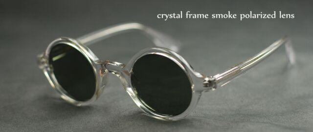 Vintage round artists black polarized sunglasses mens crystal glasses black lens