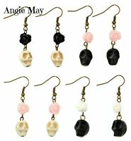 Wholesale 4 Pairs Sugar Skull Day Of The Dead Steam Punk Goth Halloween Earrings