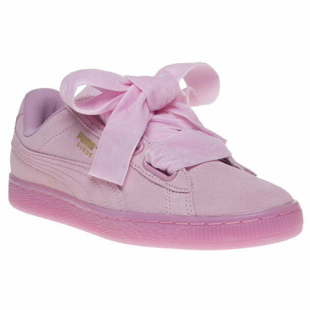 Womens Puma Pink Suede Heart Reset Sneakers Court Lace Up