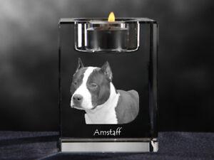 Amstaff, crystal candlestick with dog, souvenir, Crystal Animals AU - Zary, Polska - Amstaff, crystal candlestick with dog, souvenir, Crystal Animals AU - Zary, Polska