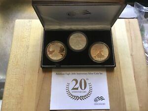 2006 Silver American Eagle 20th Anniversary 3-Coin Set w/ Box and COA