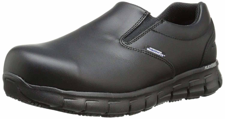 Skechers seguro de pista-Vonn para para para mujer 76563 negro Negro Puntera De Acero Antideslizante en Zapatos de trabajo  gran venta