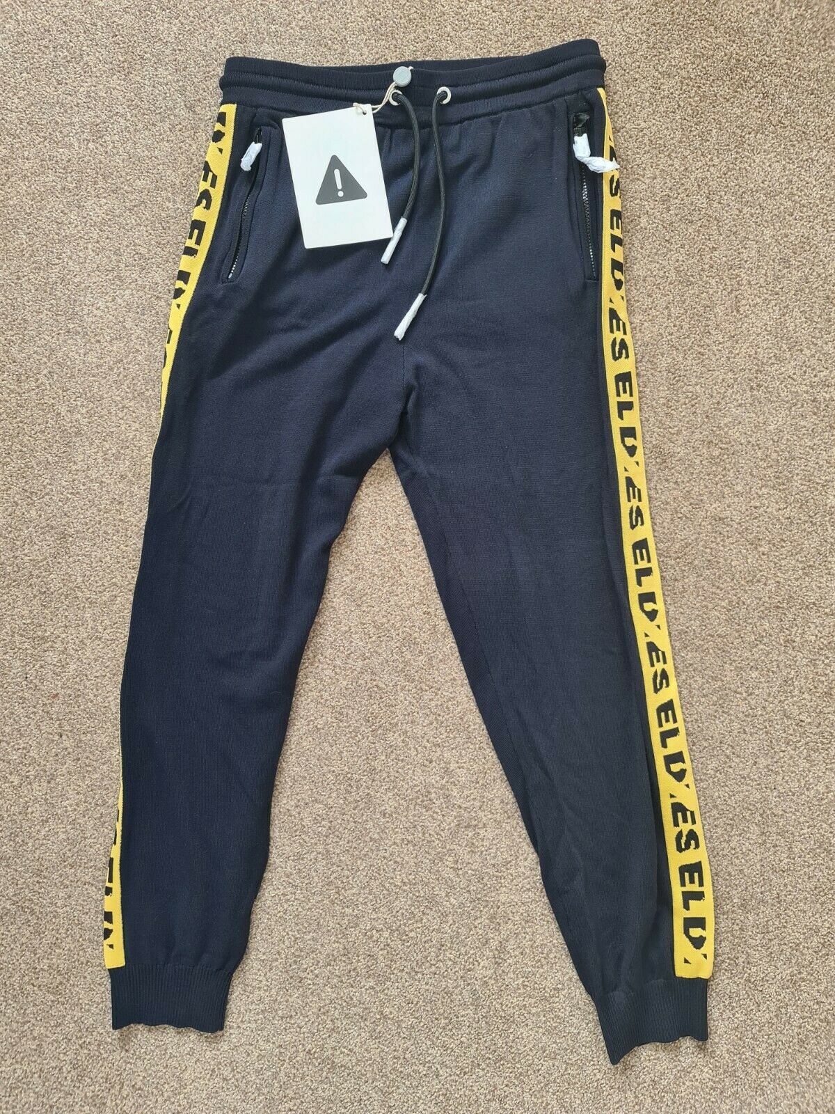 Diesel Mens Navy & Yellow Tracksuit Bottoms / Joggers - Size Medium -New w/ Tags