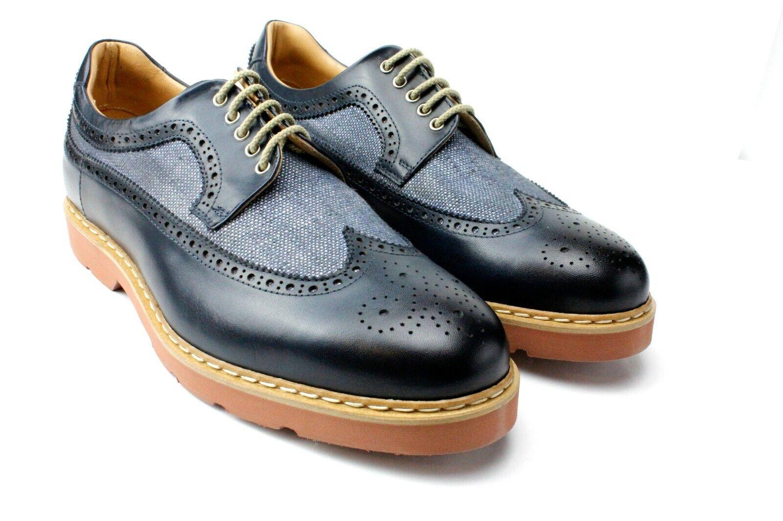 Ivan Troy Steve Azul Mano Cuero Italiano Zapatos Vestido Oxford de Oficina