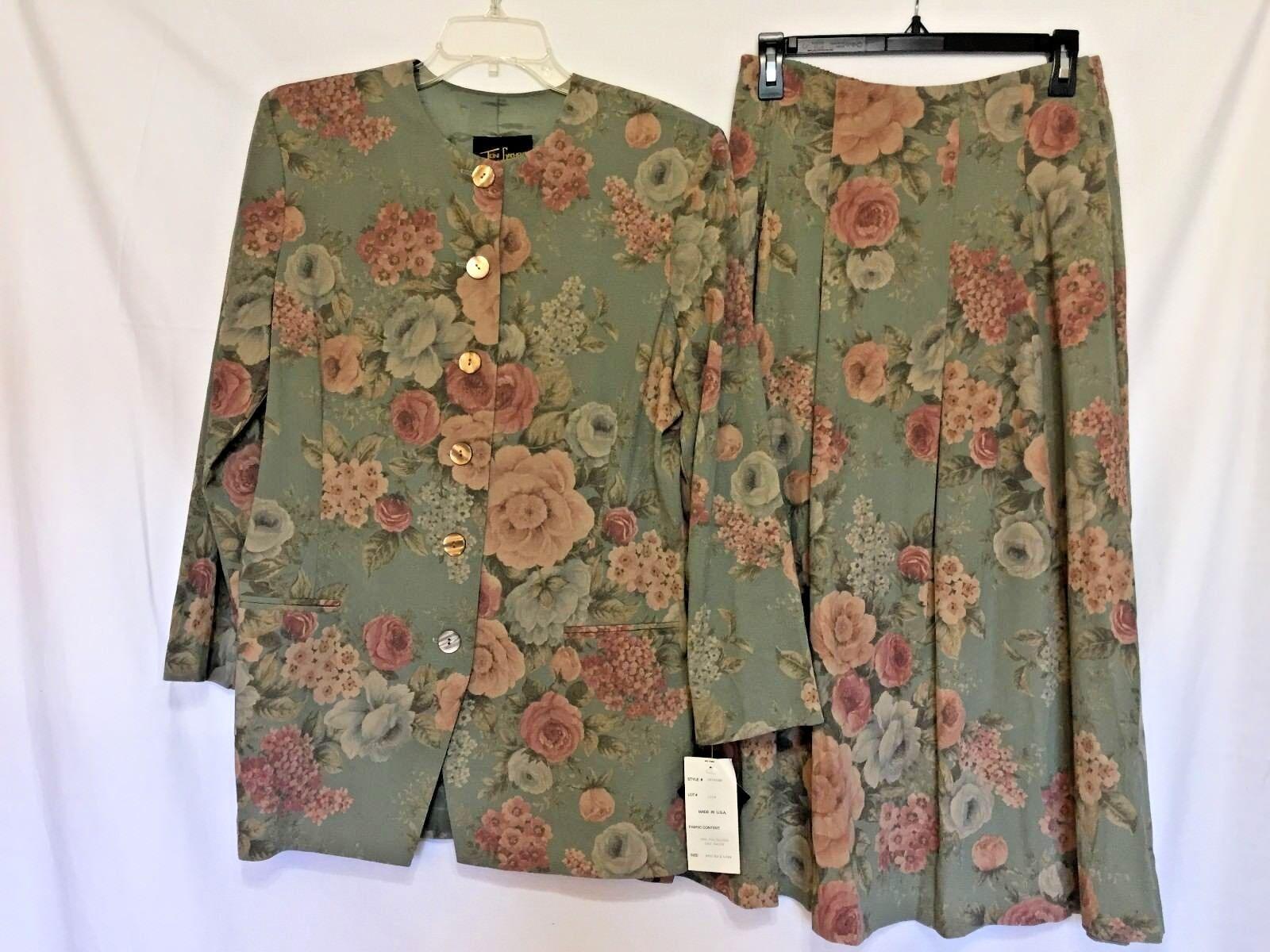 NWT  TONI GARMENT FOR C.C.MAGIC Green w Flowers Mid-Calf Skirt Suit Sz.M 10