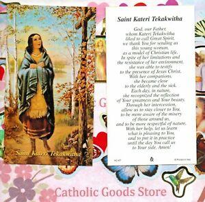 Santos-St-Kateri-Tekakwitha-con-Oracion-Paperstock-Santa-Tarjeta