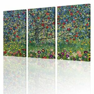 Apple-Tree-by-Gustav-Klimt-Ready-to-hang-canvas-3-Panels-Wall-art-print-HD