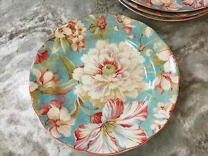 222 Fifth Salad Plates. Marley Teal. Set Of 4. Beautiful Floral ...