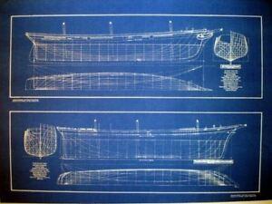 Clipper ships half hulls blueprint plans set of 2 full size image is loading clipper ships half hulls blueprint plans set of malvernweather Gallery