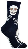 Wheel House Socks Men Teen Skeleton On Black Size 10-13 Gift Made In Usa