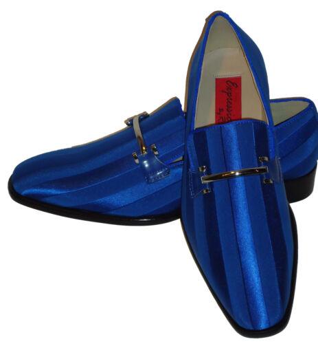 Expressions 6757 Mens Royal Cobalt Blue Fancy Satin Tuxedo Dress Loafers Shoes