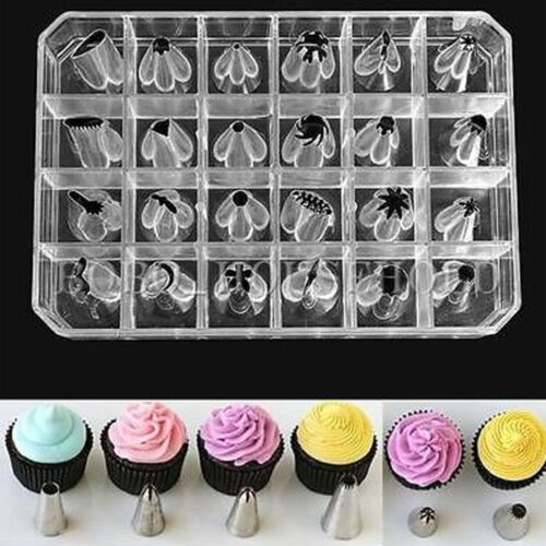 24 tlg SetSpritztüllen Edelstahl Garniertülle Tüllen Blumennagel Torte Deko Neu
