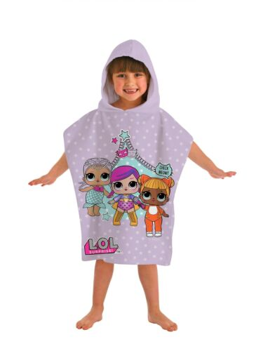L.O.L Surprise Girls Hooded Towel Printed Beach Bath Towel Poncho Pink