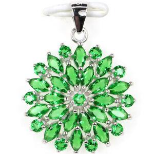 33x21mm Stunning 2.7g Green Emerald Bride Wedding 925 Sterling Silver Pendant