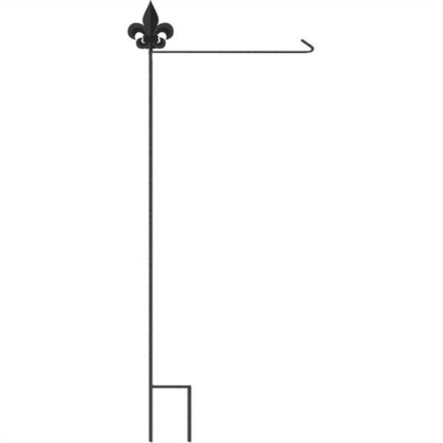 Wrought Iron and Steel Blk//Gld Fleur de Lis Flag Pole
