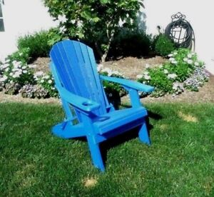 Folding Adirondack Chair Poly Lumber Recycled Plastic Bright Blue