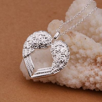 womens silver jewelry fashion angel wing pendant necklace love heart