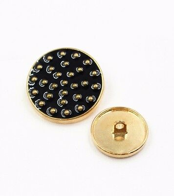 Set 8 pcs Metal Gold dots Polka Black oil buttons Clothing Craft DIY size 22mm