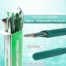Disposable Scalpel Blades 15 Sharp Tempered Stainless Steel Blades Box 10 Pcs