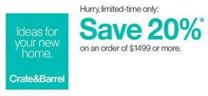 Crate and Barrel 20% off RARE COUPON - works on furniture - exp. 12-24-19 - FAST
