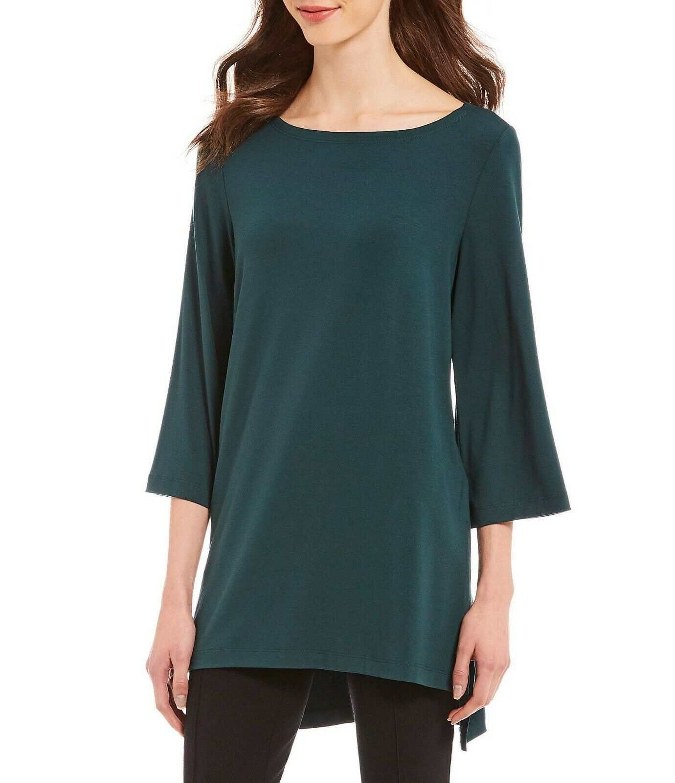 NWT Eileen Fisher Pine Viscose Jersey Bateau Top Tunic Size L MSRP   138