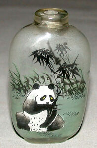 Vintage-Original-Chinese-Inside-Reverse-Painted-Snuff-Bottle-With-Panda-Bear