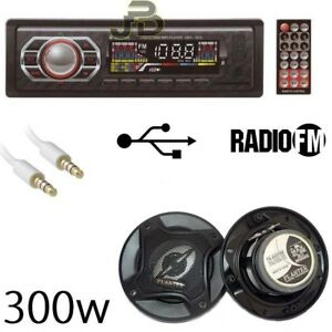 KIT-AUTO-AUTORADIO-STEREO-FM-RADIO-MP3-SD-COPPIA-CASSE-AUTO-300W-CAVO-AUX