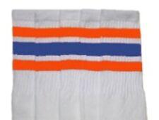 "25"" KNEE HIGH WHITE tube socks with ORANGE/ROYAL BLUE stripes style 1 (25-73)"
