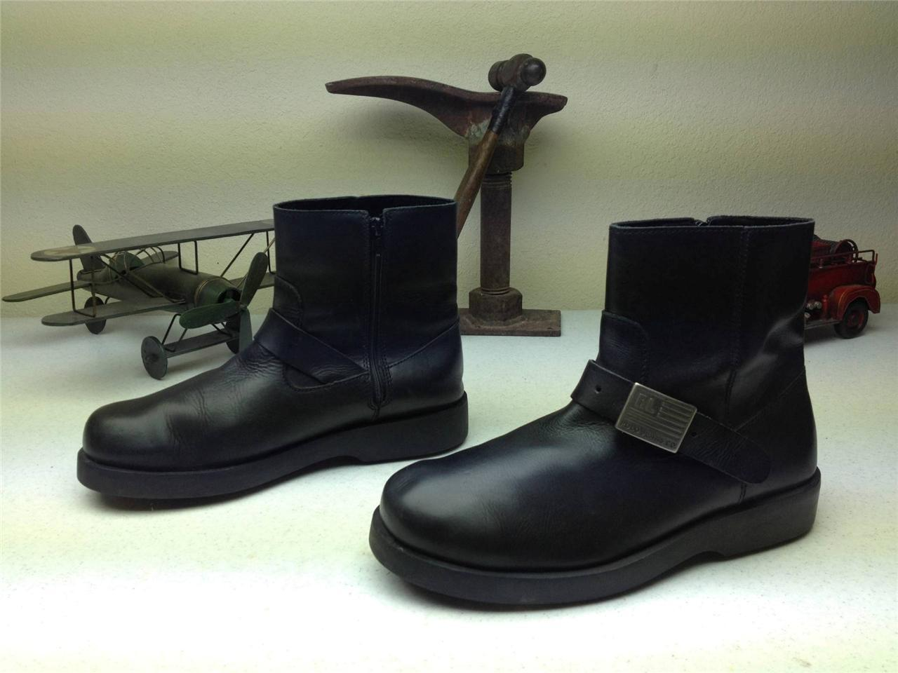 DISTRESSED POLO BLACK LEATHER ZIP UP BUCKLE BOOTS SIZE 9.5 D