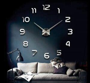 Wanduhr-Gross-A141-3D-Wand-Uhr-Ziffern-XL-XXL-Chrom-Spiegeluhr-80cm-120cm
