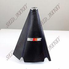 Ralliart Carbon Fiber Look PVC Blue Stitches Shift Knob Shifter Boot Cover MT/AT