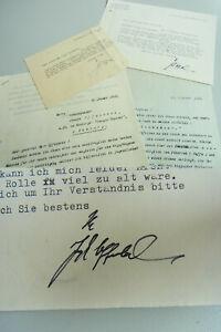 Schauspieler Joseph OFFENBACH (1904-1971): 2 Schreiben 1970 an Dirigent GRUNERT