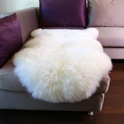 Lammfell Öko Schaffell Teppich Sofa Matte echtes Fell 85-90cm weiß TP3508ws-M
