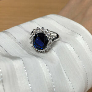 3.90 Ct Blue Sapphire Oval Cut Diamond Wedding Ring 925 Sterling Silver Size 6 7