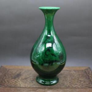 Chinese-old-porcelain-Green-Glaze-Ink-Figure-Jade-Pot-Spring-Vase