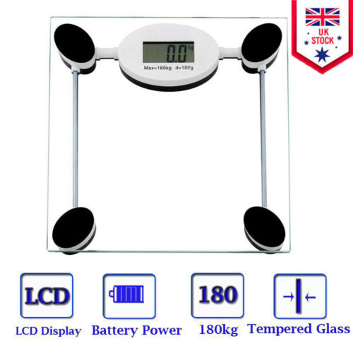 180KG Digital Body Weighing Scale Electronic LCD Bathroom Glass Weight Scales