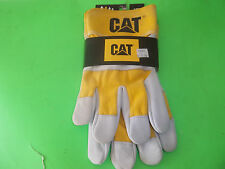NEW YELLOW / GRAY CAPERPILLAR SPLIT LEATHER WORK GLOVES LARGE FREE SHIPPING