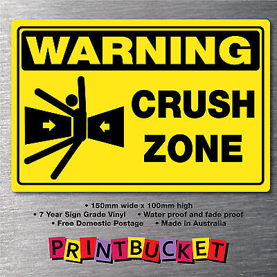 Crush Zone Body sticker 150mm oh/&s safety compliant water//fade proof 7yr vinyl