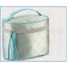 Avon Vanity Case-Blue & Plata polysatin Cosmetiquero para cosmetics/toiletries