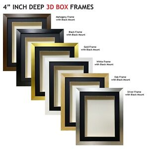 5x 8 x 8 3D Box Frame Photo Picture Deep Display Shadow 4 x 4 Mount Grey//Ivory